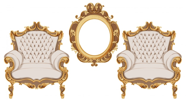 Złoty barokowy fotel. luksusowe meble. dekory bogatych ozdób wiktoriańskich Premium Wektorów