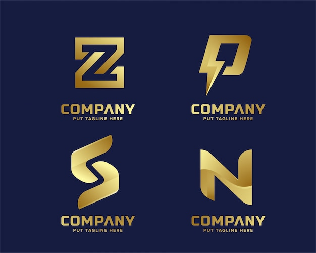 Złoty biznes luksus i elegancki szablon logo list początkowy Premium Wektorów