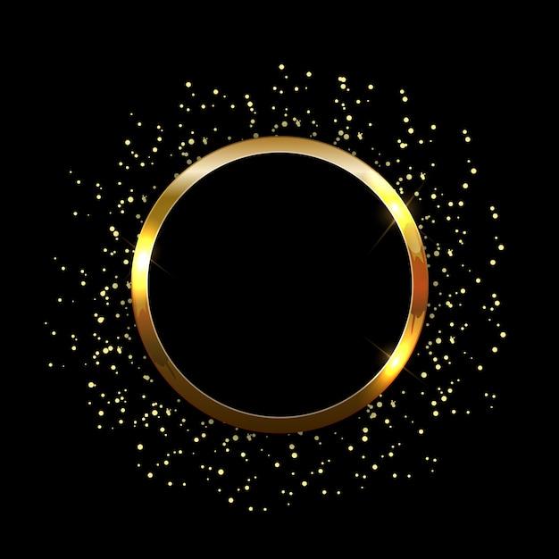 Złoty błyszczący błyszczący rama streszczenie tło. Premium Wektorów
