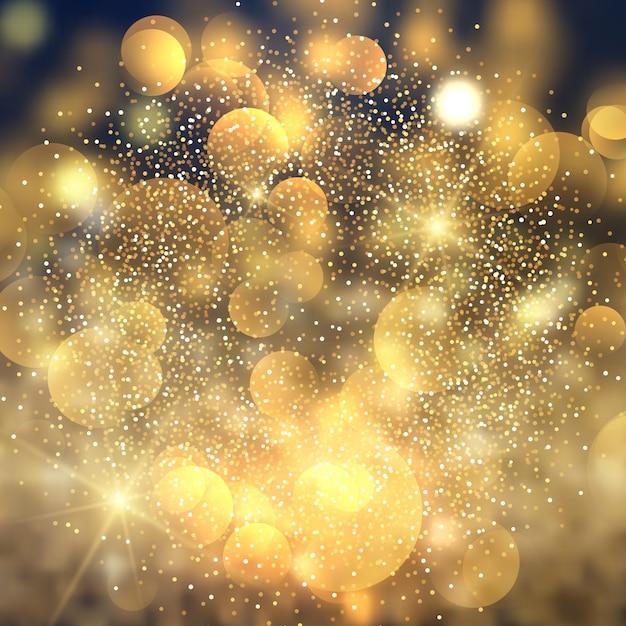 Złoty bokeh zaświeca tło Darmowych Wektorów