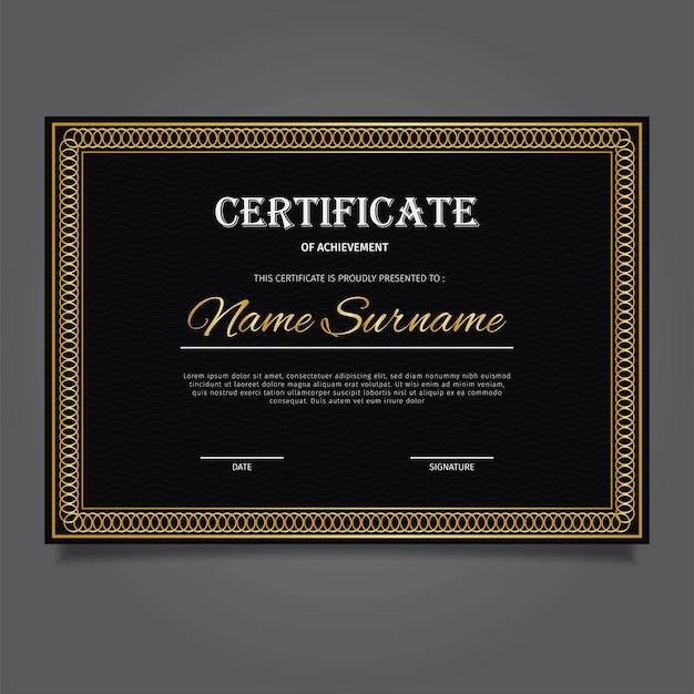 Złoty certyfikat z elegancką mieszanką czerni i złota Premium Wektorów