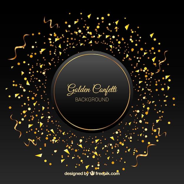 Złoty confetti tło Darmowych Wektorów