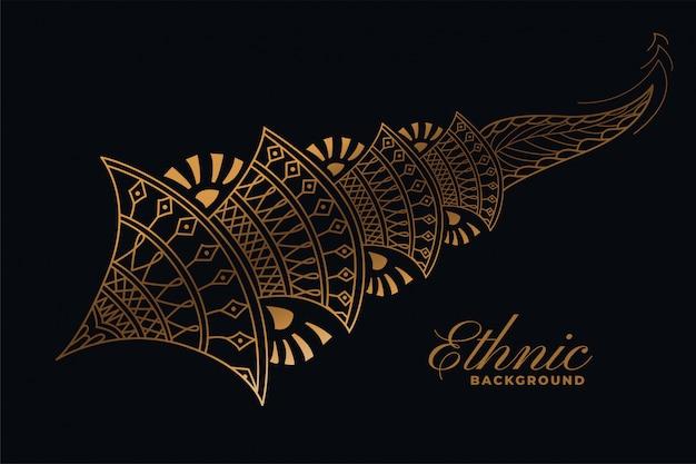 Złoty Dekoracyjny Element Dekoracyjny W Stylu Mehndi Darmowych Wektorów
