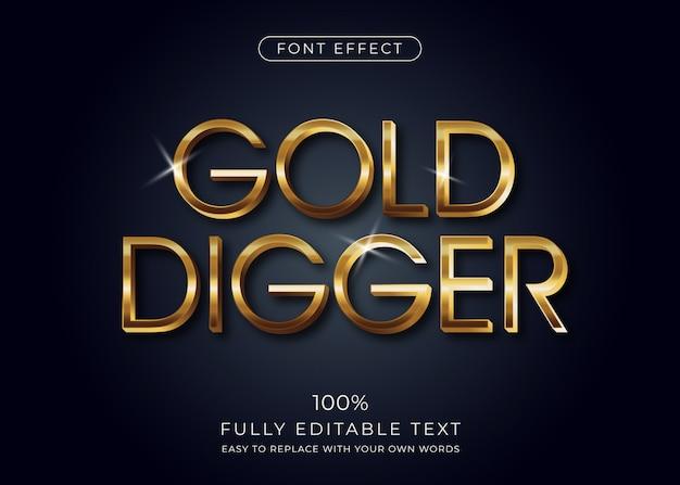 Złoty Efekt Tekstowy 3d, Styl Czcionki Premium Wektorów