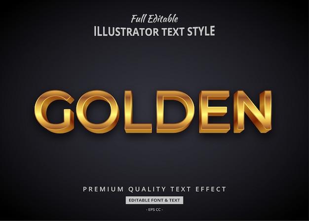 Złoty Elegancki Efekt Stylu Tekstu 3d Premium Premium Wektorów