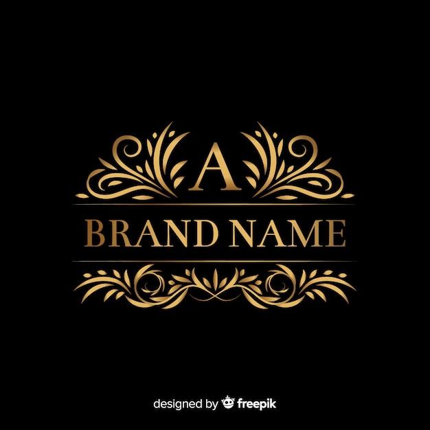 Złoty elegancki logo szablon z ornamentami Darmowych Wektorów