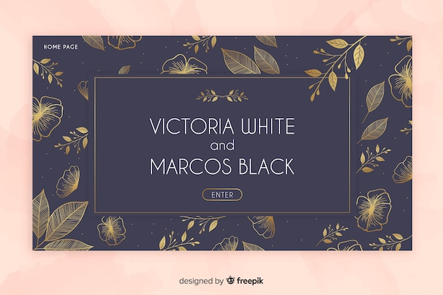 Złoty elegancki ślubny strona docelowa szablon Darmowych Wektorów
