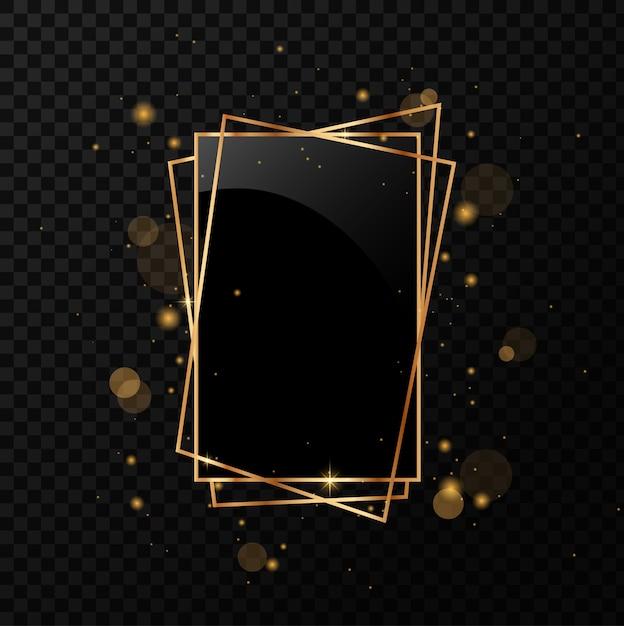 Złoty Geometryczny Wielościan Z Czarnym Lustrem. Na Białym Tle Na Czarnym Przezroczystym Tle. Premium Wektorów