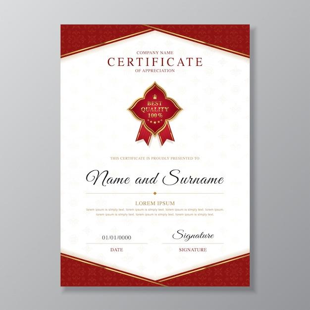 Złoty i czerwony szablon projektu certyfikatu i dyplomu Premium Wektorów