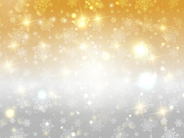 Złoty I Srebrny Jasne Tło Płatki śniegu Darmowych Wektorów