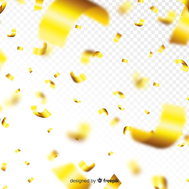 Złoty Konfetti Spada Dekoracyjne Tło Darmowych Wektorów