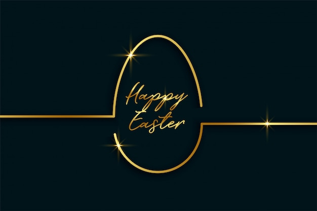 Złoty Kreskowy Styl Easter Dnia Jajka Tło Darmowych Wektorów