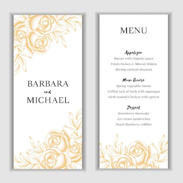 Złoty kwiatowy menu karty szablon Premium Wektorów