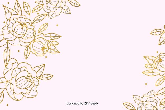 Złoty Kwiatowy Tło Darmowych Wektorów