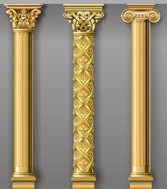 Złoty luksusowy klasyczny portal łukowy z kolumnami Premium Wektorów