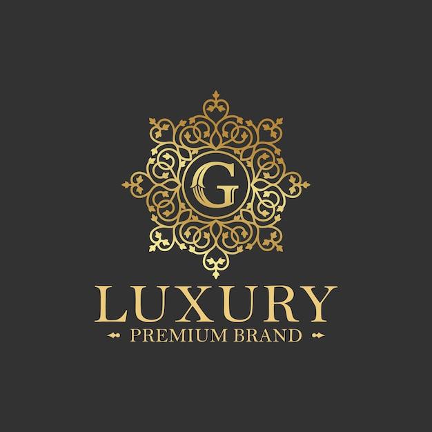 Złoty Luksusowy Logo Projekt Wektor Szablon Premium Wektorów