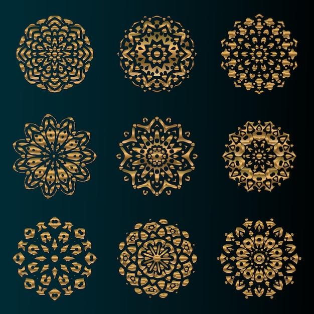 Złoty Luksusowy Mandali Sztuki Ornament Z Okrągłym Kwiatowym Wzorem Premium Wektorów