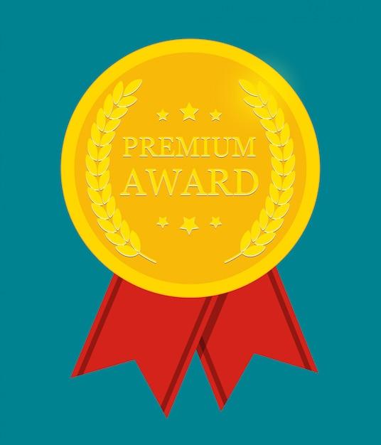 Złoty medal premium award z czerwoną wstążką. ikona znak na białym tle. Premium Wektorów
