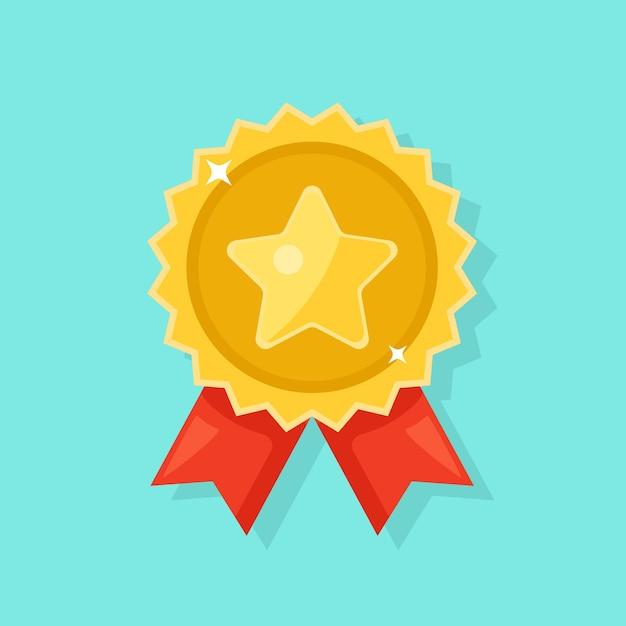 Złoty Medal Z Czerwoną Wstążką Za Pierwsze Miejsce. Trofeum, Zwycięzca Nagroda Na Białym Tle Na Tle. Premium Wektorów
