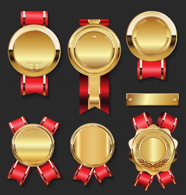 Złoty Medal Z Kolekcją Czerwonych Wstążek Premium Wektorów