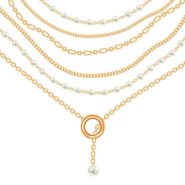Złoty metaliczny naszyjnik z pereł i łańcuszków Premium Wektorów
