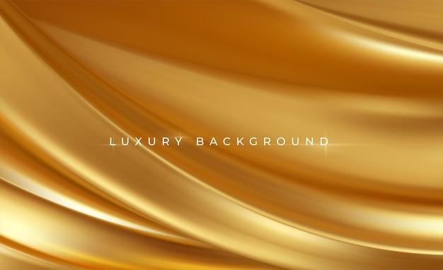 Złoty Metalik Jedwabny Falujący Luksus Modny. Premium Wektorów