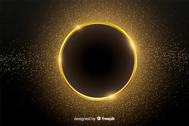 Złoty Musujące Okrągłe Ramki Tła Darmowych Wektorów