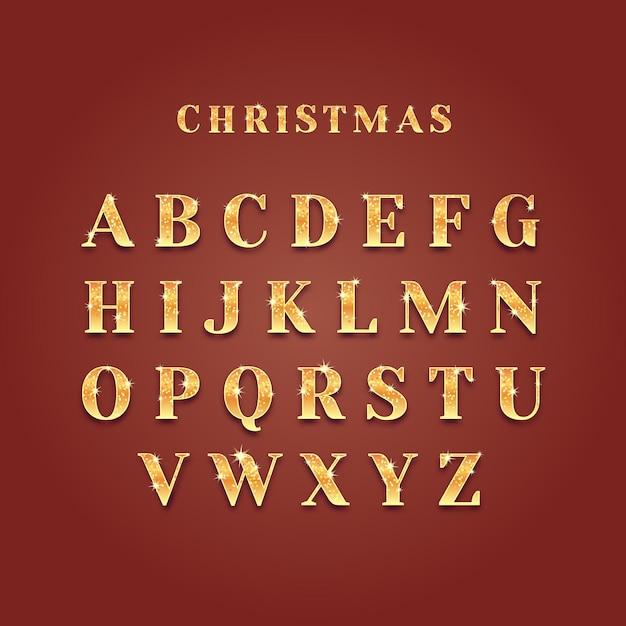 Złoty Musujący Alfabet świąteczny Darmowych Wektorów