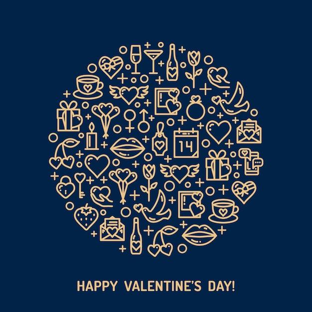 Złoty Niebieski Dzień I Ikony ślubne. Koncepcja Miłości W Stylu Monoline. Premium Wektorów