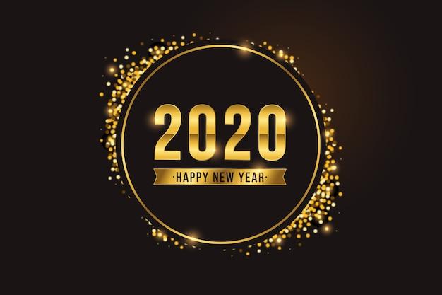 Złoty nowy rok 2020 tło Darmowych Wektorów