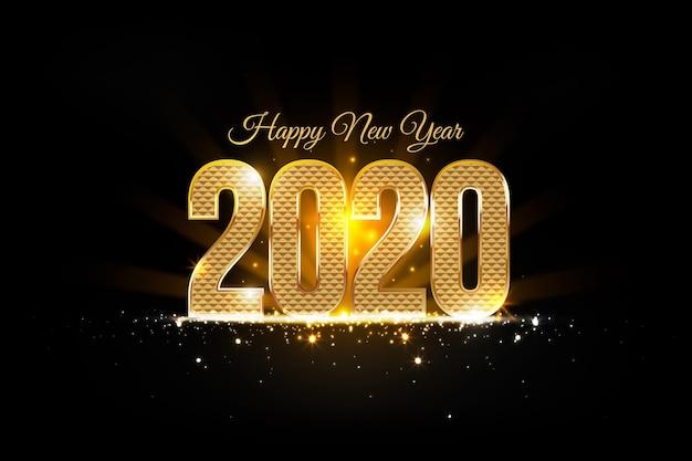 Złoty Nowy Rok 2020 Darmowych Wektorów