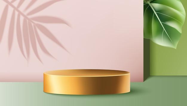 Złoty Okrągły Pojemnik Otoczony Różowo-zielonymi ścianami Z Egzotycznymi Liśćmi Darmowych Wektorów