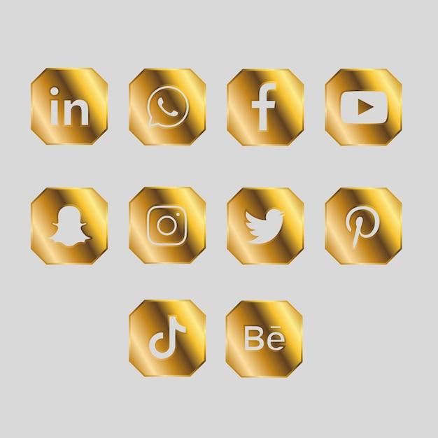 Złoty Pakiet Ikon Mediów Społecznościowych Darmowych Wektorów