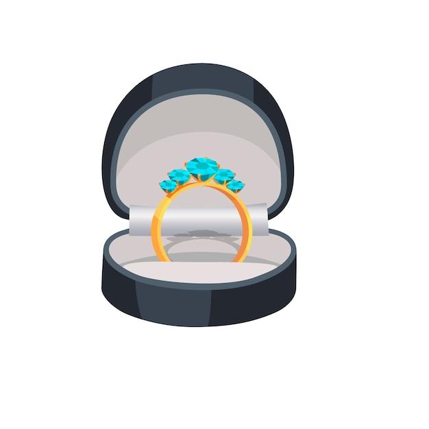 Złoty pierścionek z niebieskimi diamentami w polu ilustracji Premium Wektorów