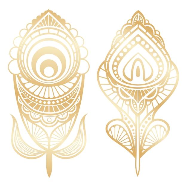 Złoty piórko indyjski styl odizolowywający Premium Wektorów