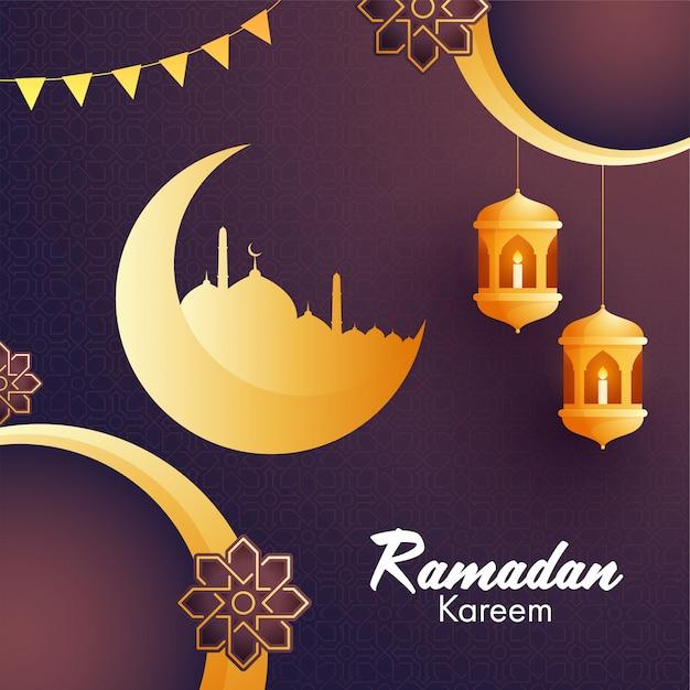 Złoty Półksiężyc, Meczet, Wiszące Lampiony I Kwiatowe Wzory Dla Islamskiego świętego Miesiąca Modlitw, Tło Ramadan Kareem. Premium Wektorów