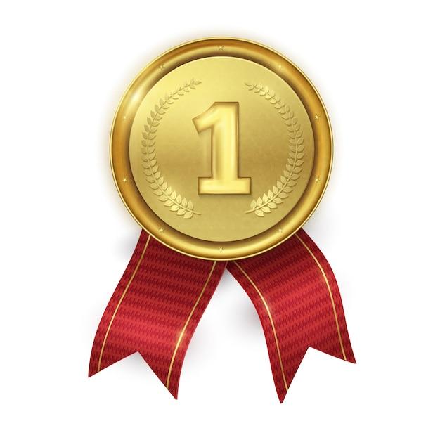 Złoty realistyczny medal. nagroda dla mistrzów. Premium Wektorów