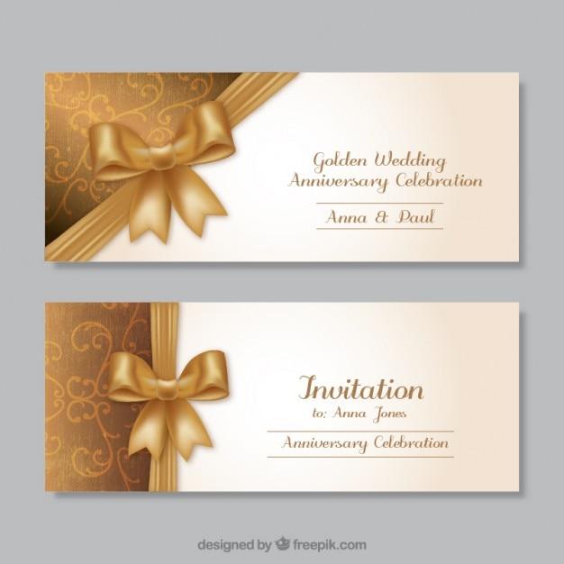 Złoty ślubne Zaproszenia Rocznicowe Darmowych Wektorów