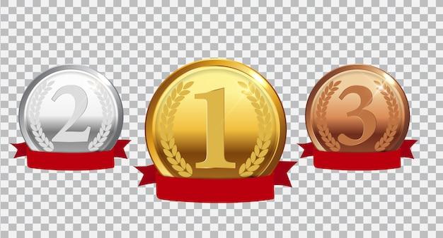 Złoty, srebrny i brązowy medal mistrza z czerwoną wstążką Premium Wektorów