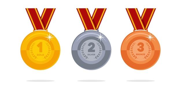 Złoty, Srebrny I Brązowy Medal Mistrza Premium Wektorów