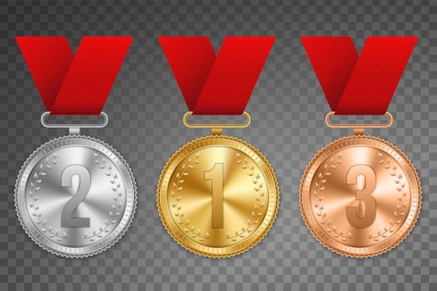 Złoty, srebrny i brązowy medal ze wstążką. Premium Wektorów