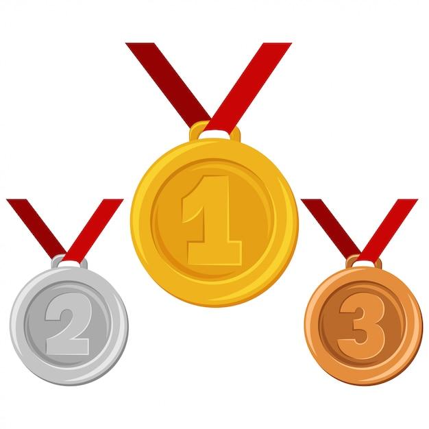 Złoty, Srebrny Lub Brązowy Medal Na Czerwonej Wstążce. Nagrody Dla Zwycięzców Wektorowa Płaska Kreskówki Ilustracja Odizolowywająca Premium Wektorów