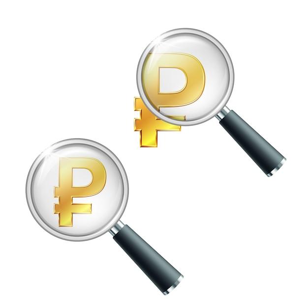 Złoty Symbol Rubla Rosyjskiego Z Lupą. Wyszukaj Lub Sprawdź Stabilność Finansową. Na Białym Tle Premium Wektorów