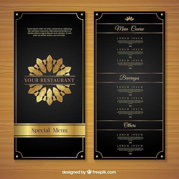 Złoty Szablon Menu Z Luksusowym Stylem Darmowych Wektorów