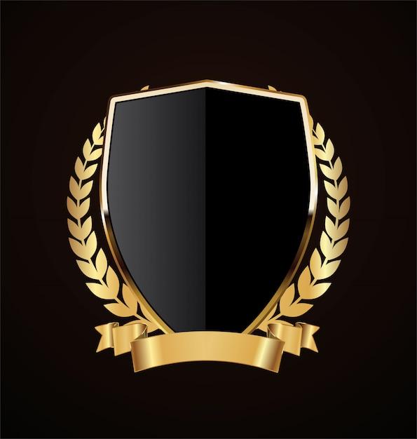 Złoty tarcza retro Premium Wektorów