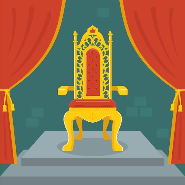 Złoty tron z czerwonym aksamitem Premium Wektorów