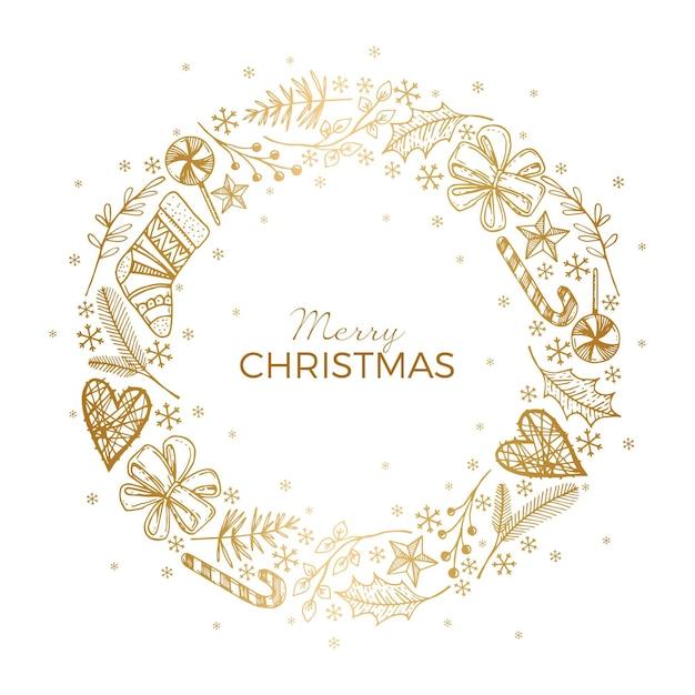 Złoty Wieniec Bożonarodzeniowy Darmowych Wektorów