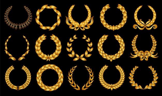 Złoty Wieniec Laurowy. Zbiór Różnych Okrągłych Laurów. Premium Wektorów