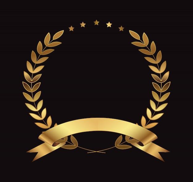Złoty wieniec laurowy Premium Wektorów