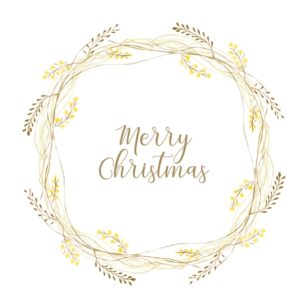 Złoty wieniec świąteczny Darmowych Wektorów